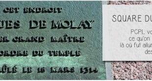 plaque à la memoire du bucher de jacques de molay, dernier grand maitre templier brulé vif au square du vert galant pour illustrer l'article par ci par là PCPL dédié au dernier bucher des templiers
