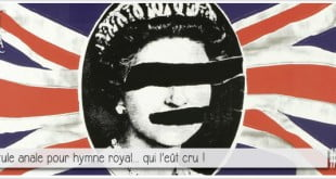 pochette du disque des sex pistols pour illustrer l'article par ci-par là dédié à l'hymne royal britannique god save the queen