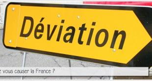 panneau de déviation pour illustrer l'article pcpl par ci par la dédié aux expressions francaises utilisées à contresens