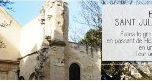 Eglise Saint Julien Le pauvre vue du square viviani à Paris