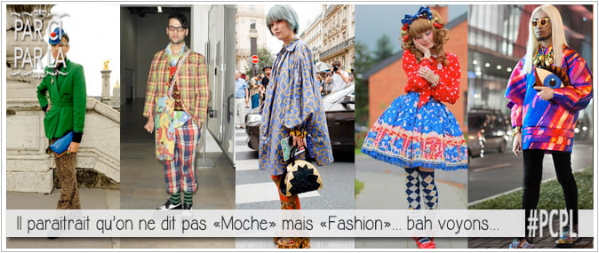 "montage photo de la fashion week, look raté, fail pour illustrer l'article pcpl sur l'expression ""etre habillé comme l'as de pique"""
