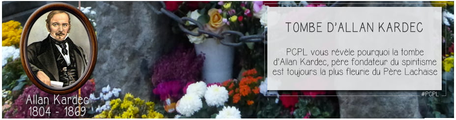 fleurs ornant la tombe d'allan kardec au père lachaise pour illustrer l'épisode par ci par là dédié au père fondateur du spiritisme